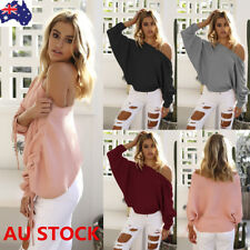 Plus Women Long Batwing Sleeve One Shoulder Sweater Shirt Loose Jumper Pullover