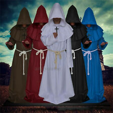 Monk Hooded Robes Cloak Cape Friar Medieval Renaissance Priest Costume Cosplay Y