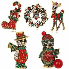 Luckly Cartoon Women Crystal Enamel Christmas Brooch Pins Holiday Gifts Jewelry