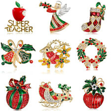 2017 Fashion Xmas Tree Bell Deer Crystal Brooch Pin Christmas Party Gift Jewelry