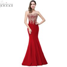 Robe de Soiree Longue Sexy Backless Red Mermaid Lace Evening Dress 2016 Long Che