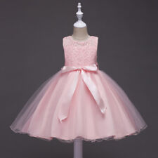 Bowknot Kids formal Bridesmaid Gown wedding party Prom Girls Lace Princess Dress