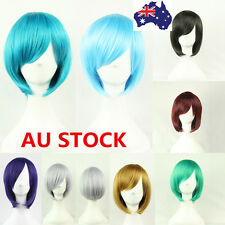 Multi-Coloured Women Short Straight Wig Cosplay Anime Halloween Party Hair+Cap