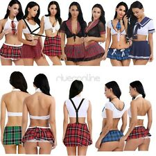Womens School Girl Lingerie Cosplay Student Halloween Costume Mini Skirt Uniform