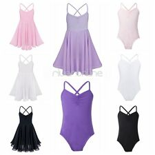 Kids Girls Princess Gymnastics Spaghetti Strap Ballet Dancer Leotard Tutu Dress