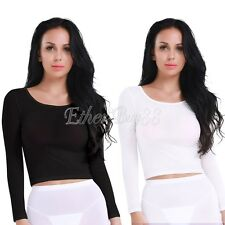 Sexy Women's Ladies Crop Tops Ladies Sheer Party T-shirt Mesh Long Sleeve Blouse