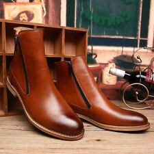 British Mens Casual Faux Leather Zipper Ankle Boots Business Dress Formal Shoes