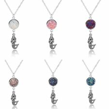 Fashion 18K White Gold GP Crystal Cluster Mermaid Pendant Necklace Women Jewelry