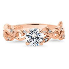 Rose Gold Over Silver CZ Solitaire Leaf Filigree Engagement Ring 0.895 CT