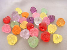 12mm 30/60/100pcs FROSTED ASSORTED COLORS ACRYLIC ROSE BUTTON / BEAD JJ6213