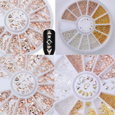 Rose Gold Rhinestones Rivet Studs 3D Nail Art Decoration In Wheel Steel Bead U