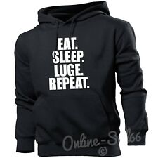 Eat Sleep Luge Repeat Mens Hoodie Winter Ice Fast Hoody Competition Gold