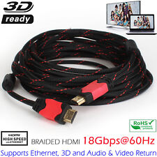 Braided HDMI Cable Premium Gold High Speed F HDMI 3D/DVD/HDTV 3/6/10/15/25/30ft