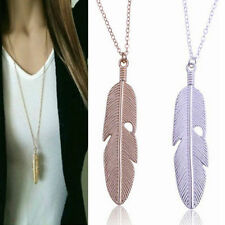 Women Feather Pendant Long Chain Necklace Sweater Statement Vintage Jewelry CHIC
