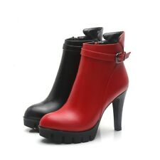 Fashion Womens Platform High Block Heels Side Zip Ankle Boots Sexy Pumps Shoes