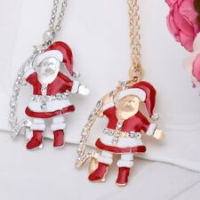 New Christmas Tree Santa Claus Pendant Necklace Sweater Chain Xmas Party Jewelry