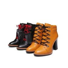 Stylish Womens Lace Up Tassel Ankle Boots High Block Heels Leather Casual Shoes