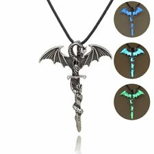 Vintage Cross Dragon Glow In The Dark Bead Pendant Necklace Fashion Jewelry Gift