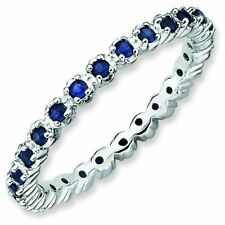 Sapphire 2.25mm Prong Eternity Band Sterling Silver Stackable Ring