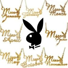 Playboy Necklace Pendant w Chain Swarovski Crystal Gold Plated Bunny MISS MONTH