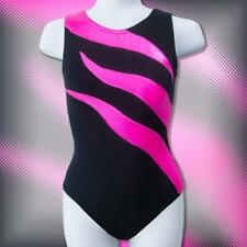 Girls Gymnastics Leotard sz 7-14 black hot pink Mystique flame design NEW leo