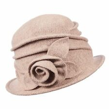 SCALA COLLEZIONE BOILED WOOL WARM SWALE ROSETTE ACCENTED CLOCHE (LW616)