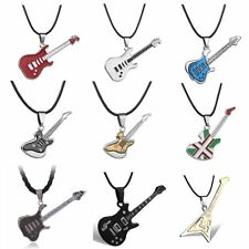 Colorful Fashion Stainless Steel Guitar Music Pendant Necklace Jewelry Men Gift