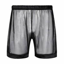 Men's Cotton Mesh See Through Boxers Briefs Shorts Trunks Transparent Underwear