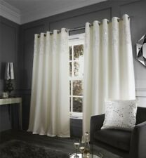 SEQUINS BANDED STRIPE CREAM LINED FAUX SLUB SILK RING TOP CURTAINS 4 SIZES