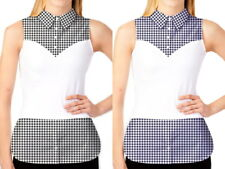 NWT SKINNY SHIRT Blue White/ Black White GINGHAM Sleeveless Shirt Sz M XL 280077