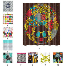 Water-resistant Fabric Bathroom Shower Curtains Bath Decor with 12 Hooks