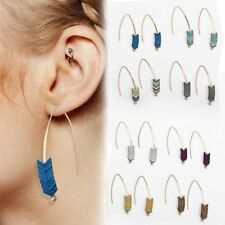 Vintage Gold Plated Arrow Long Dangle  Line Ear Stud Earrings Women Lady Jewelry