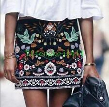 Chic Party NEW A/W BLACK FLORAL Occident EMBROIDERED MINI SKIRT. BLOGGERS S M L