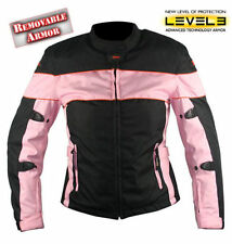 Xelement Ladies Black and Pink Tri-Tex Fabric Motorcycle Jacket with Level-3 Adv