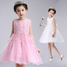 Formal Lace Tulle Dress Baby Girl Kids Princess Bridesmaid Wedding Party Gown
