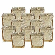"Set of 12  Mercury Glass Square Votive Candle Holders  2.25"" Inch H ( Speckled G"
