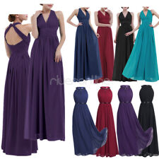 Ladies Womens Dress Halter Long Chiffon Bridesmaid Maxi Party Gown Prom Cocktail