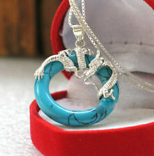 Women New Pendant Gold Plated Jade Turquoise Jewelry Lady Fashion Necklace