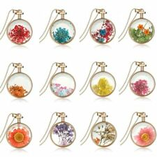 New Natural Real Dried Flower Round Glass Bottle Pendant Necklace Women Jewelry