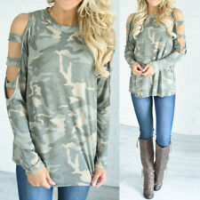 Women Camouflage Long Sleeve Tops Off Shoulder Blouse Loose T-shirt Pullover US