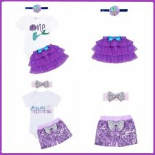Baby Romper Mermaid Outfit Set Girls Tutu Skirt Party Cake Dress Headband Outfit