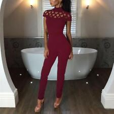 NEW Ladies Jumpsuits Womens Rompers Hollow Out Short Sleeve Playsuits