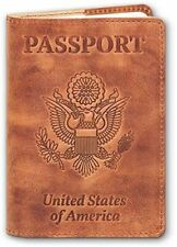 NEW - Leather Passport Cover - Genuine Leather Passport Holder Safe Secure Trave