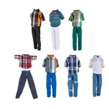 Dolls Clothes For Barbie Ken Doll Outfits Suit Checked Shirt Top Pant Jeans Accs