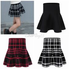 Women High Waist Plaid Skater Flared Pleated Short Mini Skirt Girl Tennis Shorts