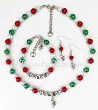 Personalized CANDY CANE Charm Necklace/Bracelet/Earrings Christmas Gift Set