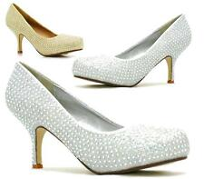 WOMENS MID HEEL LADIES DIAMANTE BRIDAL WEDDING PROM COURT SHOES SIZE 3-8