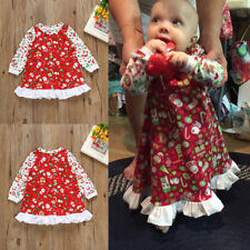 Toddler Kids Baby Girls Christmas Party Dress Santa Claus Print Casual Outfit
