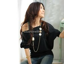 Sexy Women Trendy OFF-Shoulder Cotton Tops T-Shirt Buttons Blouse EHE8