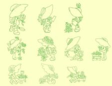 Sunbonnets Gardening Redwork Machine Embroidery-40 Designs-By Anemone Embroidery
